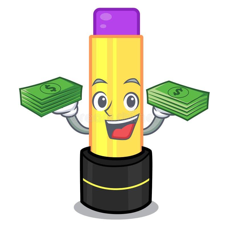 当金钱袋子唇膏被隔绝在thec动画片 库存例证