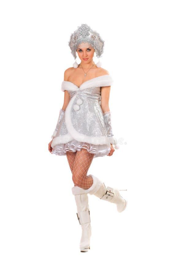 当雪未婚打扮的性感的少妇 库存照片