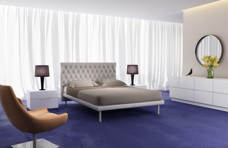当代典雅的豪华卧室 向量例证