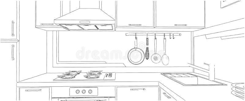 当代壁角与抽象绘画的厨房内部剪影在墙壁上图片