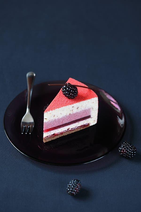 当代多层状奶油甜点蛋糕片断  免版税库存图片