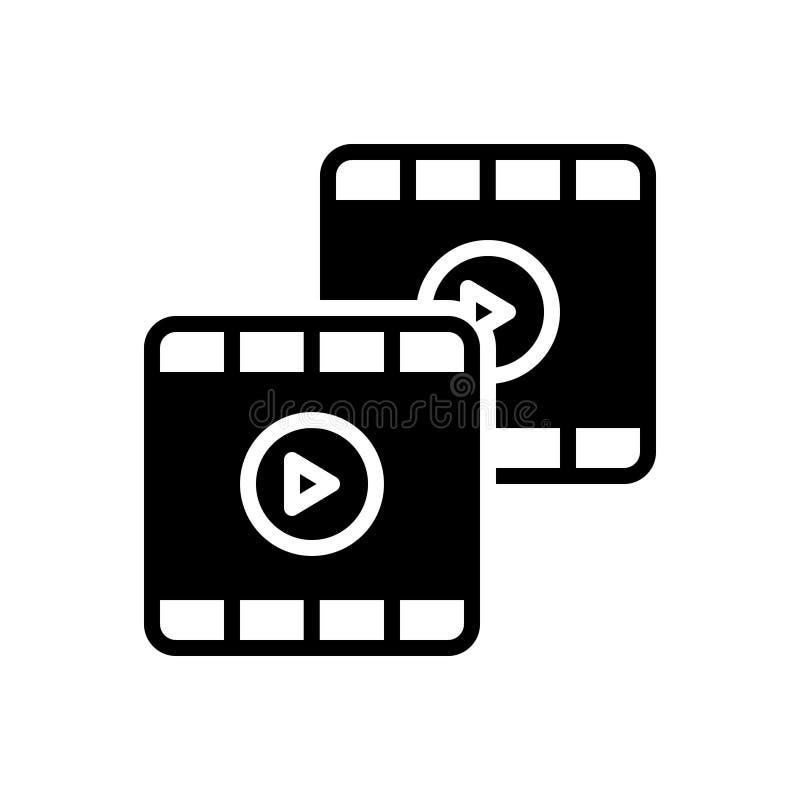 录影、英尺长度和影片的黑坚实象 向量例证