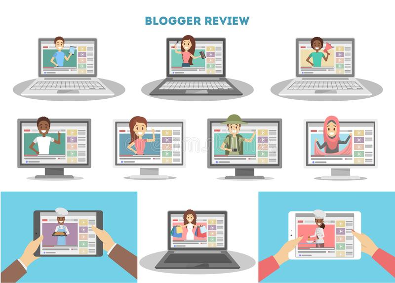 录影博客作者被设置 向量例证