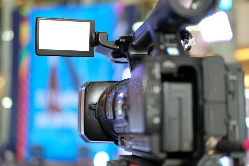 录影在阶段的生产照相机录音生活事件 televisio 免版税图库摄影