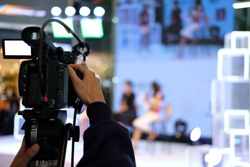 录影在阶段的生产照相机录音生活事件 televisio 图库摄影
