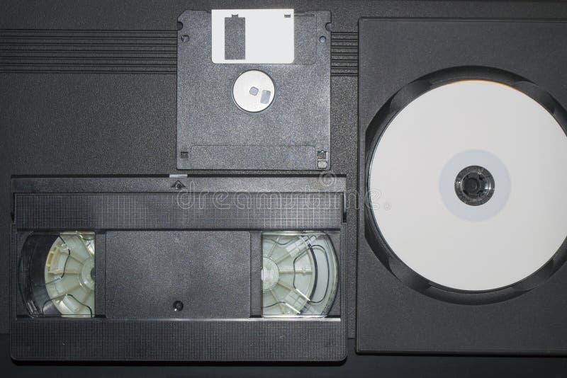 录影带、磁盘和盘 库存图片