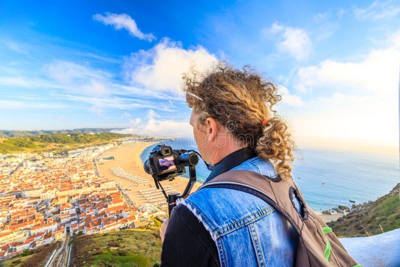 录影摄影师在葡萄牙 免版税库存图片