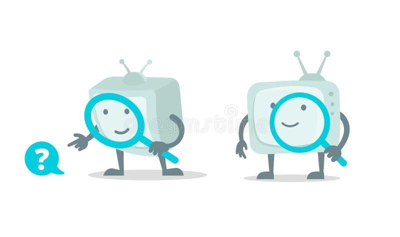 录影查寻,戏院电视与放大器寸镜集合的机器人字符 放大镜查寻 平的颜色传染媒介 向量例证