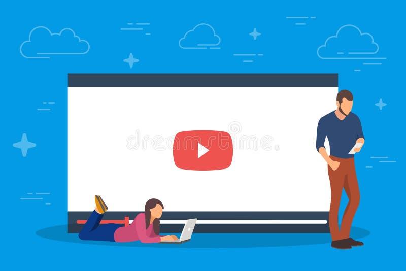 录影概念例证 使用流动小配件、片剂个人计算机和智能手机的青年人 观看录影通过互联网 库存例证
