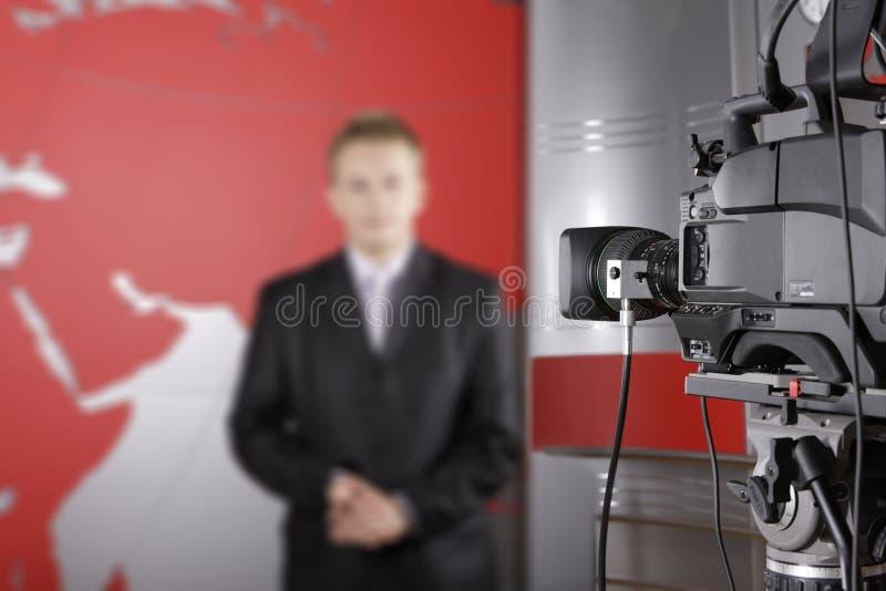 录影的照相机接近的工作室电视 免版税图库摄影