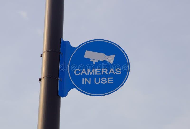 录影监视器在使用中的标志 库存照片