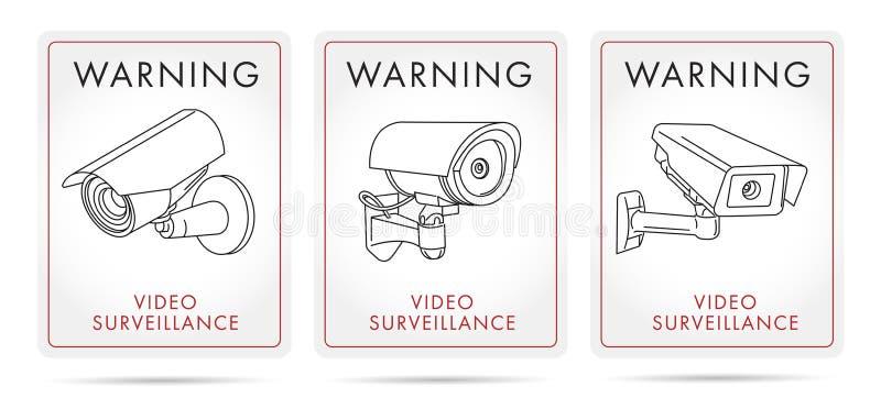 录影监视海报和贴纸与照相机线性象  库存例证