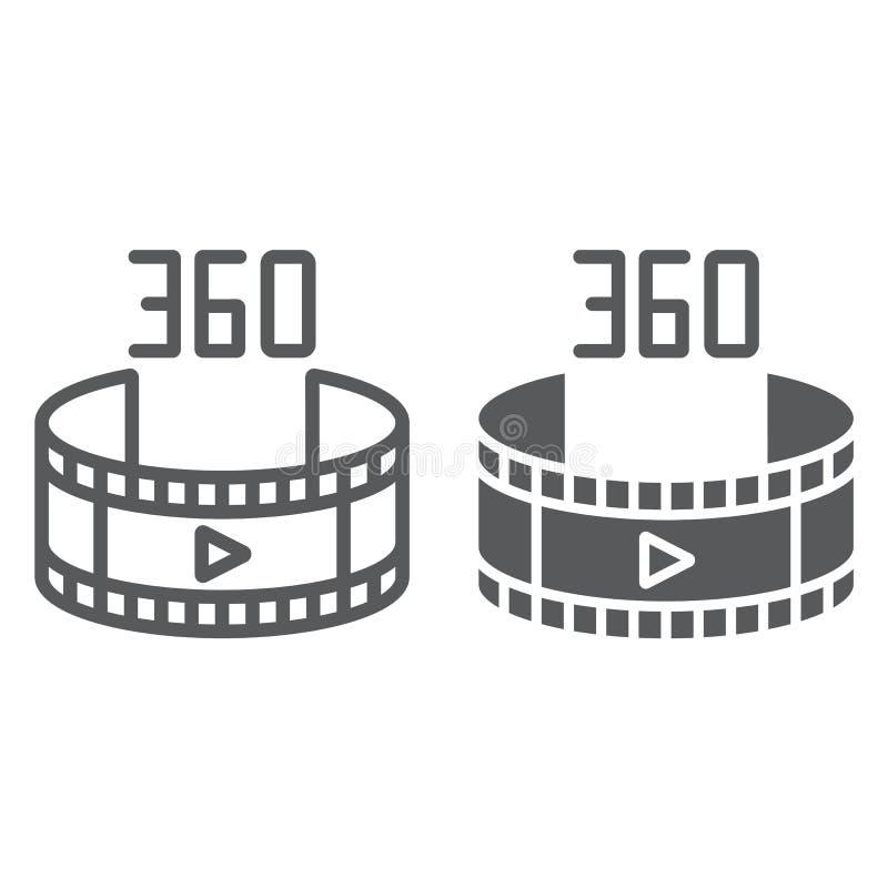 360录影线和纵的沟纹象、自转和看法,全景录影标志,向量图形,在白色的一个线性样式 皇族释放例证