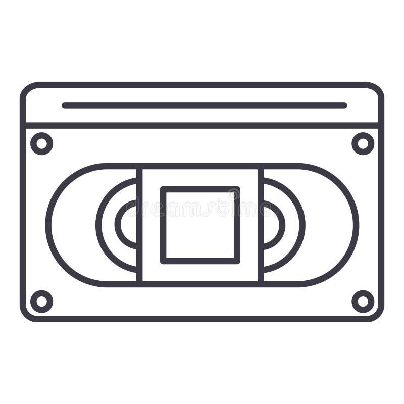 录影cassete传染媒介线象,标志,在背景,编辑可能的冲程的例证 向量例证