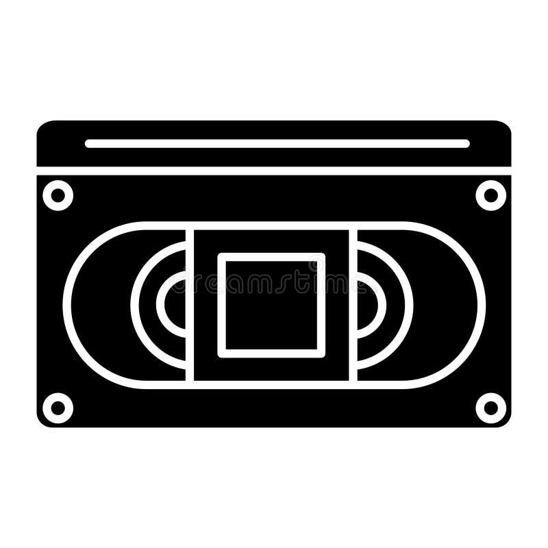 录影cassete象,传染媒介例证,在被隔绝的背景的黑标志 库存例证