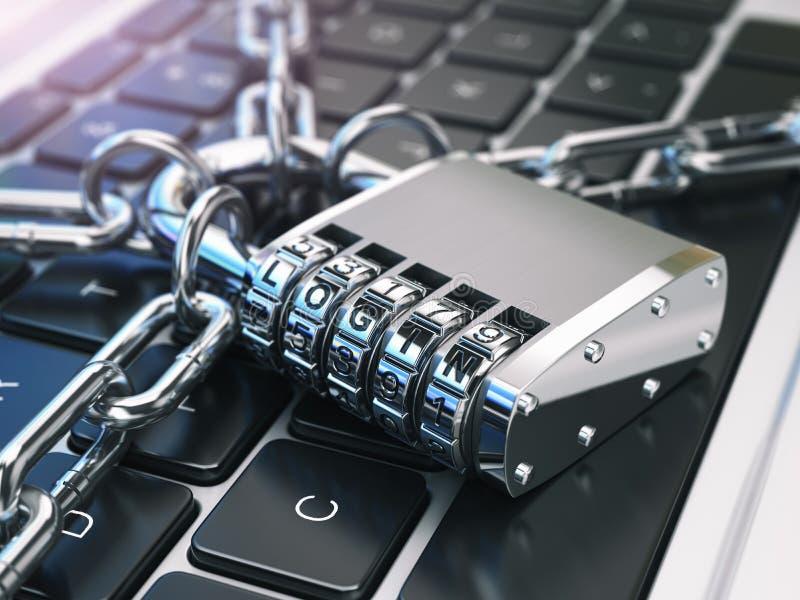 登录 计算机安全或安全概念 膝上型计算机键盘与 皇族释放例证