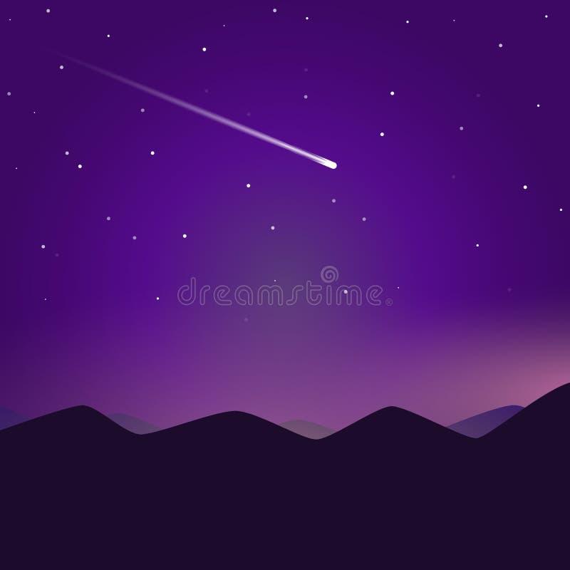 彗星和夜山 库存例证