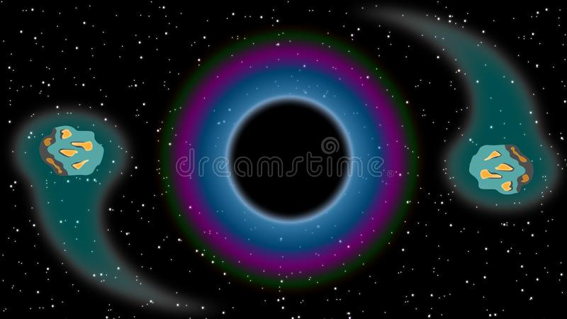 彗星和黑洞 向量例证