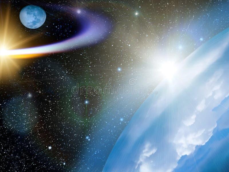 彗星地球天空星形 免版税库存照片