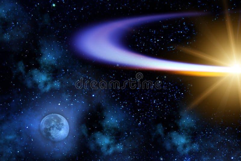 彗星飞行月亮轨道 免版税库存照片