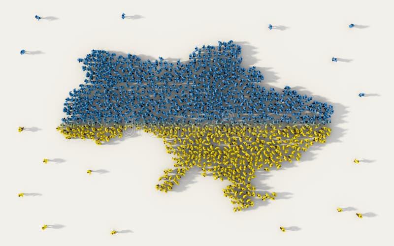 形成乌克兰地图和国旗在社会媒介和社区概念的大人在白色背景 3d符号 皇族释放例证