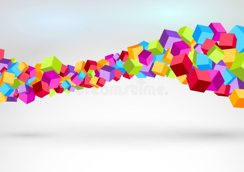 形成五颜六色的swoosh波浪的立方体 库存例证