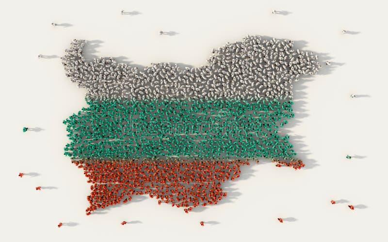 形成保加利亚地图和国旗在社会媒介和社区概念的大人在白色背景 3d符号 库存例证