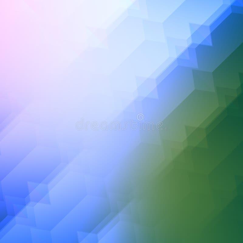 形成光线影响的半透明的叠加的形状 抽象背景蓝绿色 库存例证