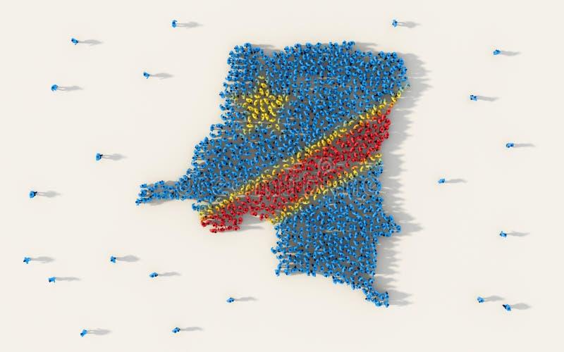 形成刚果民主共和国地图和国旗在社会媒介和社区概念的大人  向量例证