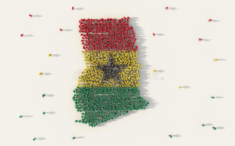形成加纳地图和国旗在社会媒介和社区概念的大人在白色背景 3d符号 皇族释放例证