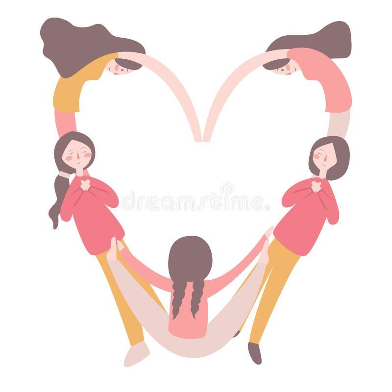 形成华伦泰s心脏的女孩塑造与他们的身体,被隔绝在白色背景,情人节的概念 向量例证