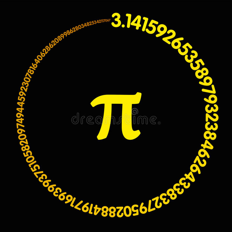 形成圈子的金黄数字Pi 向量例证