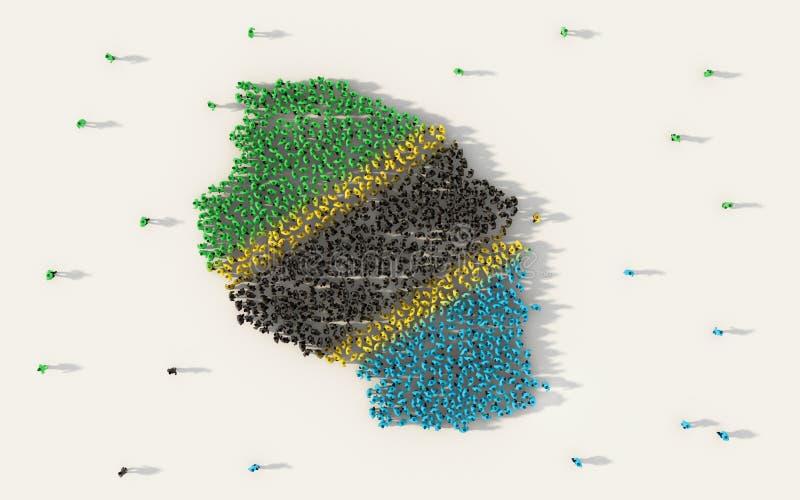 形成坦桑尼亚地图和国旗在社会媒介和社区概念的大人在白色背景 3d符号 库存例证