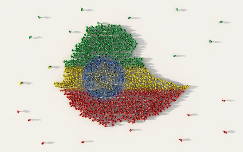 形成埃塞俄比亚地图和国旗在社会媒介和社区概念的大人在白色背景 3d符号 皇族释放例证