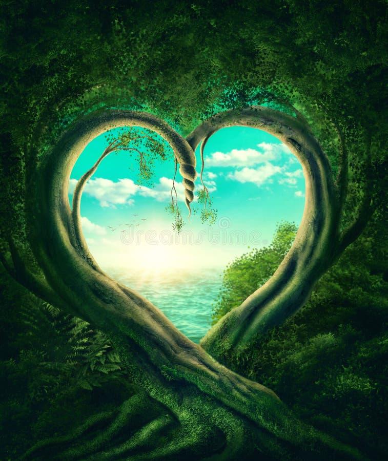 形成心脏的树 库存例证