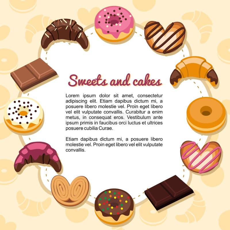 形成框架的甜点和蛋糕 库存例证