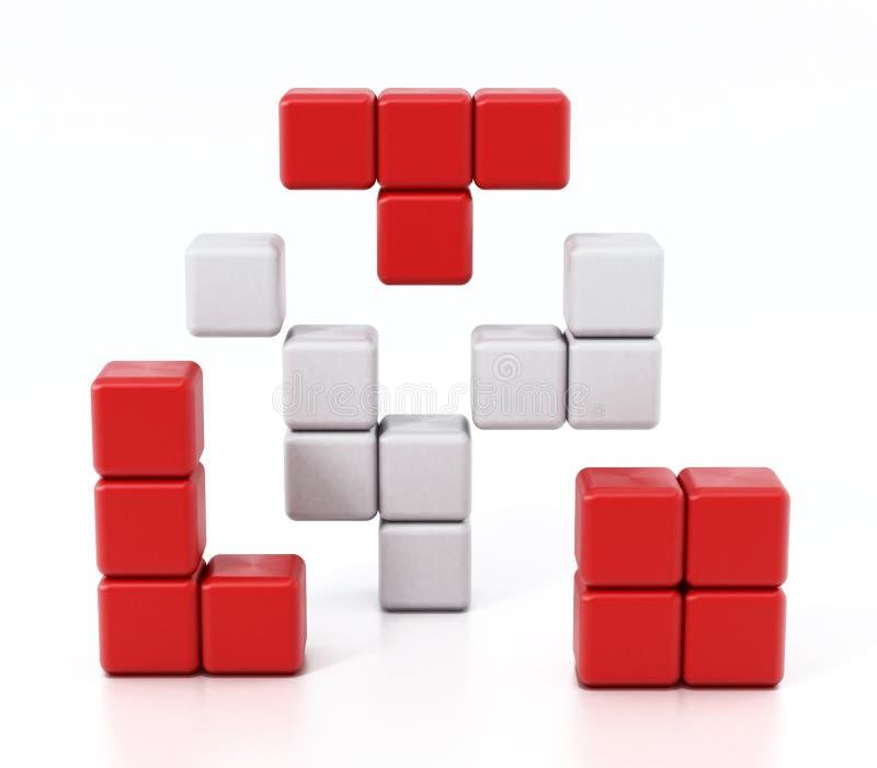 形成立方体alltogether的积木 3d例证 皇族释放例证