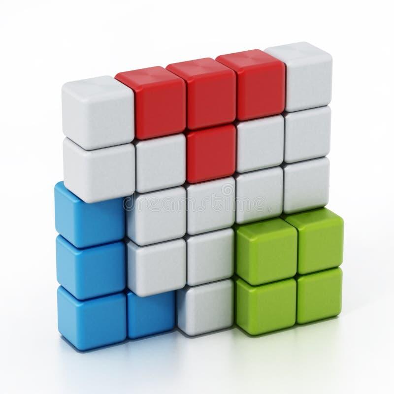 形成立方体alltogether的积木 3d例证 库存例证
