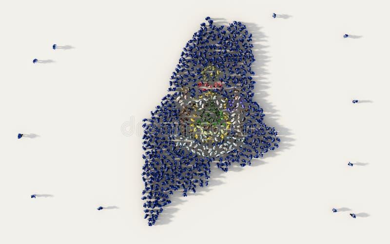 形成缅因旗子地图的大人在美国,美国,在白色的社会媒介和社区概念的 库存例证