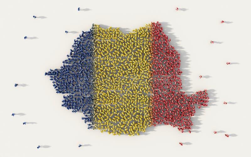 形成罗马尼亚地图和国旗在社会媒介和通信概念的大人在白色背景 3d符号 皇族释放例证
