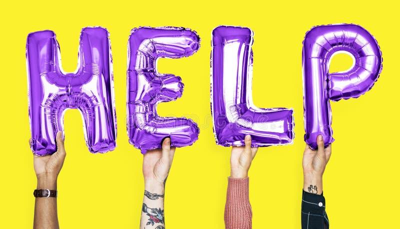 形成词帮助的紫色字母表气球 免版税库存照片