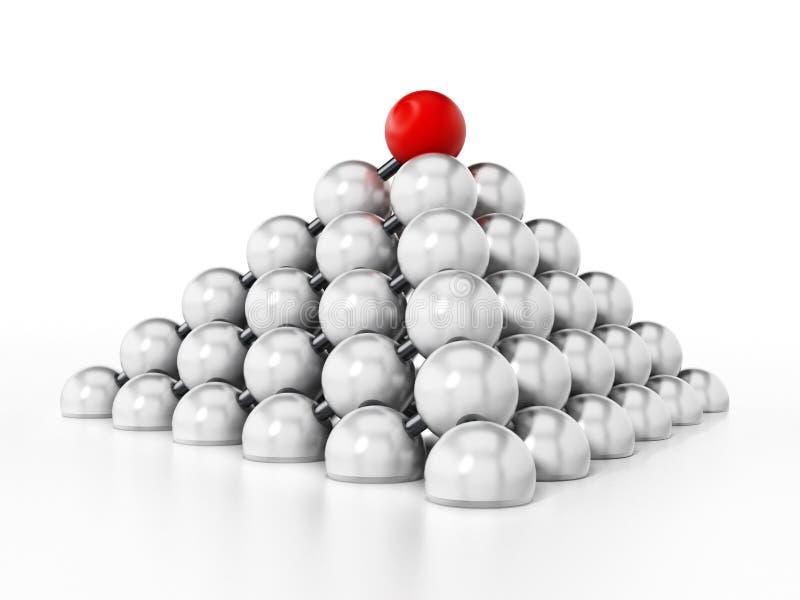 形成金字塔形状的白色球形 3d例证 库存例证