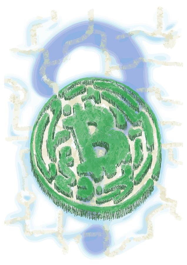 形成bitcoin的标志的迷宫 免版税库存照片