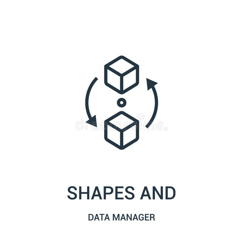 形状和标志象传染媒介从数据经理汇集 稀薄的线形和标志概述象传染媒介例证 线性 向量例证