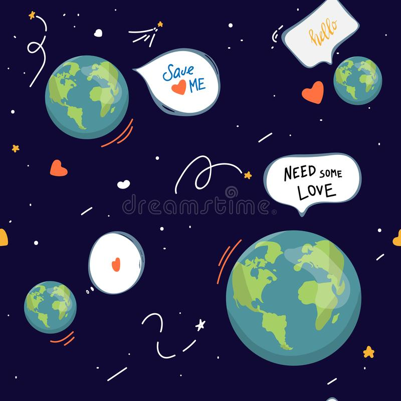 形状的地球 动画片地球 网象绿化愉快的自然字符 爱生态地球行星无缝的世界地图 库存例证