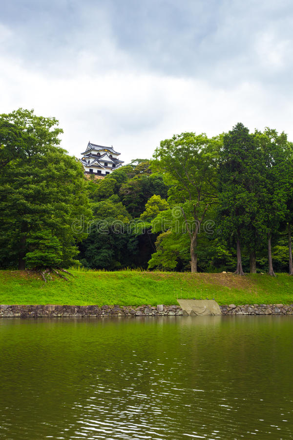 彦根Jo城堡护城河遥远的阴云密布v 库存照片