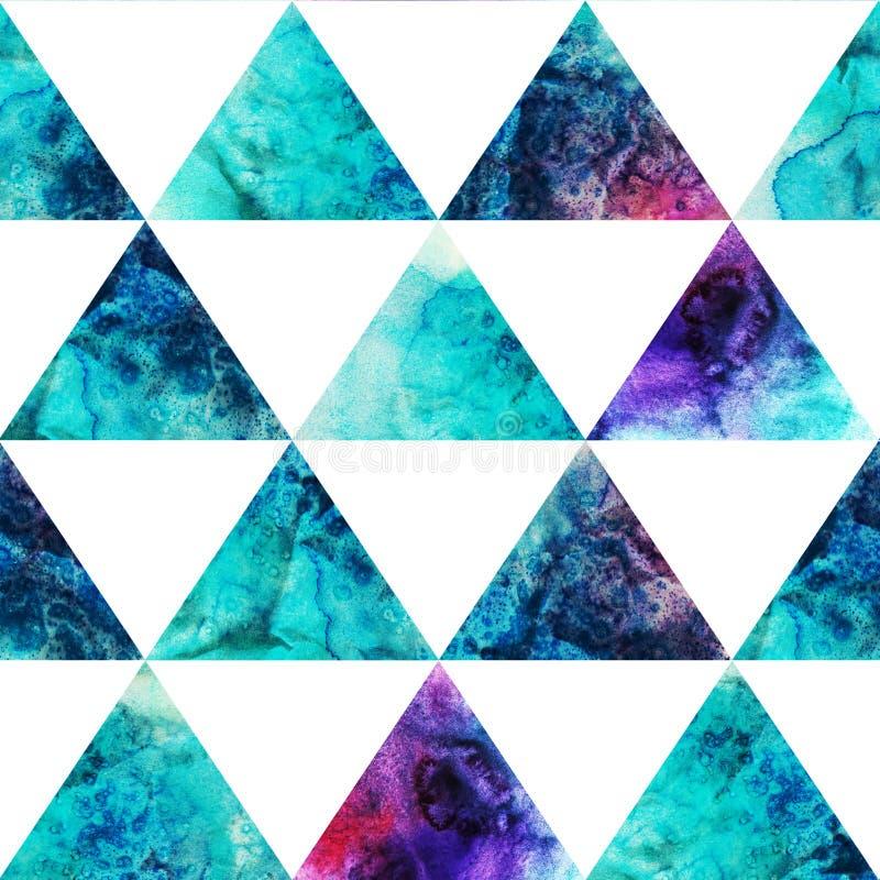 水彩三角无缝的样式。现代行家无缝的p 皇族释放例证