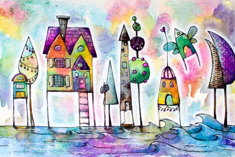 水彩不可思议的房子城市,街道 向量例证