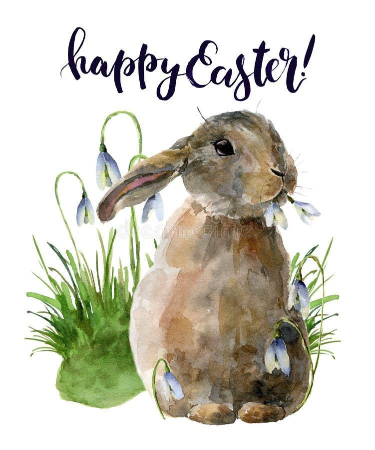 水彩与兔宝宝和snowdrops的复活节卡片 在白色与传统标志的手画印刷品隔绝的 皇族释放例证