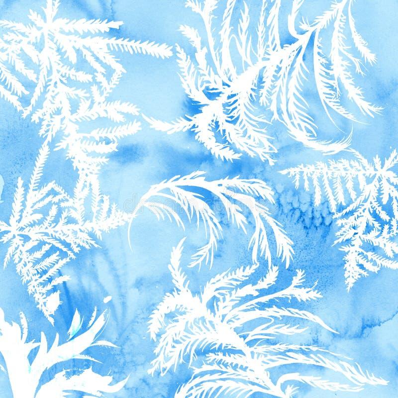 水彩与手拉的结冰的网眼图案的霜纹理 背景蓝色冬天 向量例证